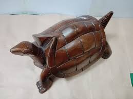 carved turtle wood sculpture