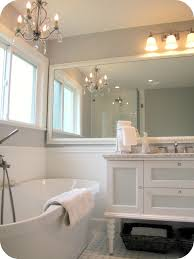 Small bathroom wall mirrors Shelf Mirror With White Frame Hang On Grey Wall Painted Over White Vanity Also Freestanding Soaker Tubs As Decorate White And Grey Bathrooms Decorating Ideas Hashook Wonderful Wall Mounted Large Square Mirror With White Frame Hang On
