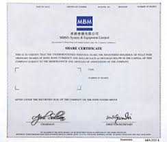 Form Of Share Certificate Share Certificates Bond Certificates Mbm Hk Cheque