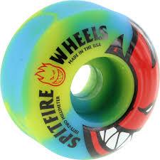 spitfire 52mm wheels. spitfire bighead sunburn swirl 52mm yellow/blue/red skateboard wheels (set of 4)
