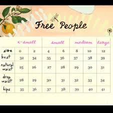 Free People Chart Free People Size Chart Nwt