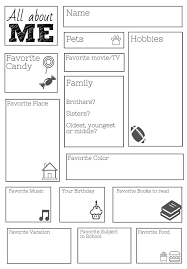 All about me free printable worksheets