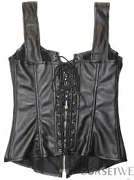 y women steampunk black leather overbust corset tops