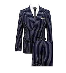 <b>Mens</b> 3 pcs Double Breasted Navy Blue with <b>White</b> Pinstriped 6 ...
