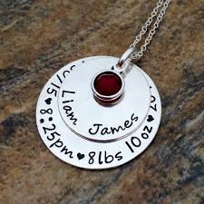 baby s birth stats personalized sterling silver mommy necklace personalized mom pendant custom mom jewelry new mom gift