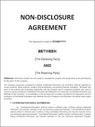 Nda Template Agreement Printable Sample Non Disclosure Agreement Sample Form Real Estate