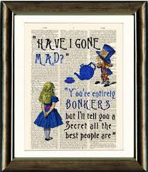 alice in wonderland bonkers e vintage book page print on a page from a late 1800s