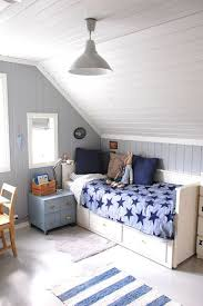 attic boy's room in the shades of blue