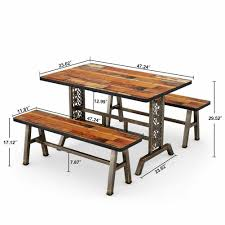 3 Pieces Dining Set Kitchen Table Benches Set With Metal Base For