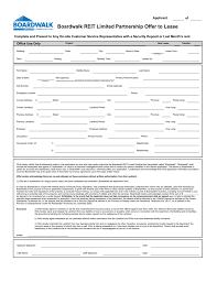 Rent Lease Application Form Offer To Lease Form Boardwalk Rental Communities