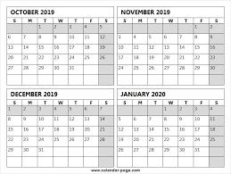 October November December 2019 And January 2020 Calendar Excel