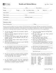 medical health history form nj shore fit health history forms