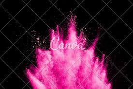 Abstract Pink Dust Explosion On Black Background Abstract