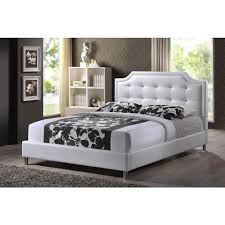 white upholstered headboard queen. Modren White Carlotta White Queen Upholstered Bed On Headboard R
