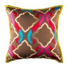 moroccan throw pillows. 100% Handmade Imported The Royal Durbar Throw Pillow Cover, Multicolor On Brown Moroccan Pillows L