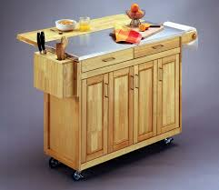 drop leaf wooden kitchen cart and island with stainless steel top and knives plus utensils holder