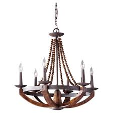 adan 6 light rustic iron burnished wood chandelier