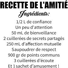 Sticker Citation La Recette De Lamitié