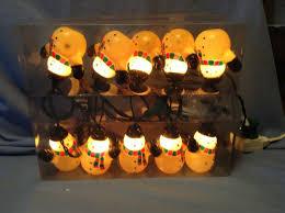 Christmas String Light Covers Vintage 10 Hard Plastic Christmas Blow Mold Snowman String Light Covers