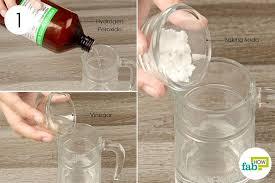 combine hydrogen peroxide baking soda and vinegar in a jar