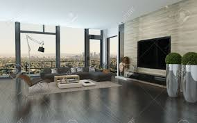 Urban Living Room Design Modern Urban Living Room Interior With Large View Windows