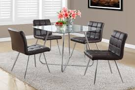 brown dining chairs. BROWN LEATHER-LOOK / CHROME METAL 32\ Brown Dining Chairs