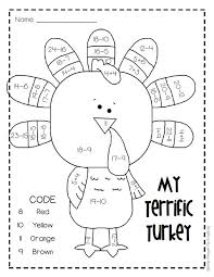 Small Picture My Terrific Turkey FREE Addition Subtraction Worksheet for