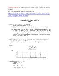 Digital Systems Design Using Verilog Solution Solutions Manual For Digital Systems Design Using Verilog