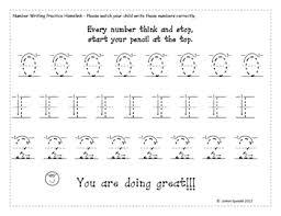 kindergarten number writing practice 0 9