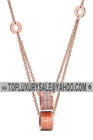 bvlgari b zero1 imitation rose gold plated two chain diamonds pendants necklace delicate women gift america