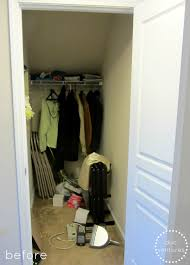 first we had to clean purge empty out all the items in the closet