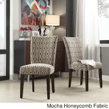 Catherine Print Parsons Dining Side Chair (Set of 2) by iNSPIRE Q Bold  (Grey Link Fabric Side Chairs (Set of 2)) (Rubberwood)