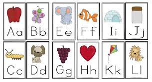 One with a cartoon image and another with a photo of a real item. Free Alphabet Printables For Wall