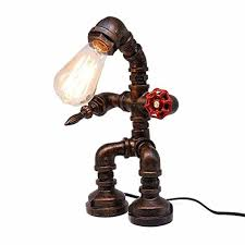 Frideko Vintage Table Lamp Retro Industrial Iron Water Pipes