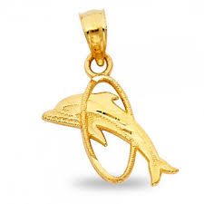 dolphin in ring pendant solid 14k yellow gold fish charm fancy design small