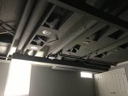 Exposed  Painted Basement Ceiling Spray Painted Basement - Exposed basement ceiling