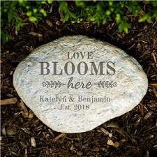 engraved garden stones. Engraved Love Blooms Here Large Garden Stone | Stones G