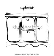 cupboard clipart black and white. vintage cupboard/ furniture/ interior design elements/ hand drawn ink sketch illustration isolated on white background cupboard clipart black and