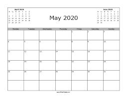Calendar May 2020 May 2020 Calendar Free Printable Allfreeprintable Com