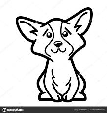 Hond Cartoon Karakter Kleurplaat Zwart Wit Vectorillustratie