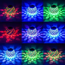 Mosaic Power And Light Solar Power Red Blue Mosaic Colorful Led Light Garden Waterproof Glass Ball Decoration Lamp
