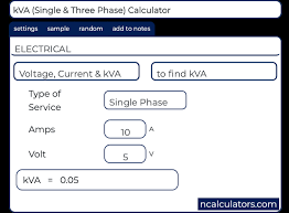 Generator Calculation Chart Kva Single And Three Phase Calculator