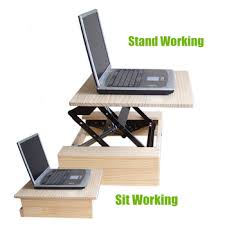 portable computer desk folding table sit stand up for office portable c74
