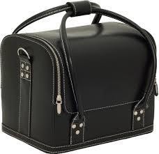 pia roma faux leather train makeup case by sunrise black faux leather