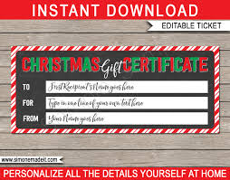 Cruise Gift Certificate Template Christmas Gift Certificate Template Ndash Chalkboard Cruise