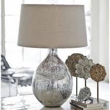living room end table lamps with silver glitter lamp base soft burlap shade simple accessory flower