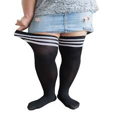 plus size thigh high socks japanese fashion striped stocking large sizes warm over the knee
