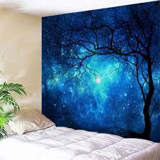 galaxy tree print tapestry wall hanging art blue w71 inch l91 inch