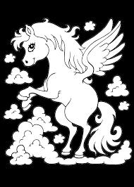 Elegante Kleurplaat Paard Met Vleugels Krijg Duizenden