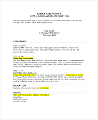 Retail Sales Associate Resume Fascinating 28 Sales Associate Resume Samples Sample Templates